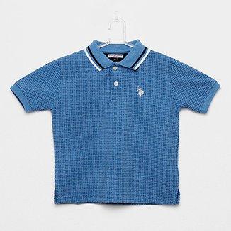 809f19dea3 Camisa Polo Infantil Polo U.S.POLO Assn Estampada Mini Print Masculina