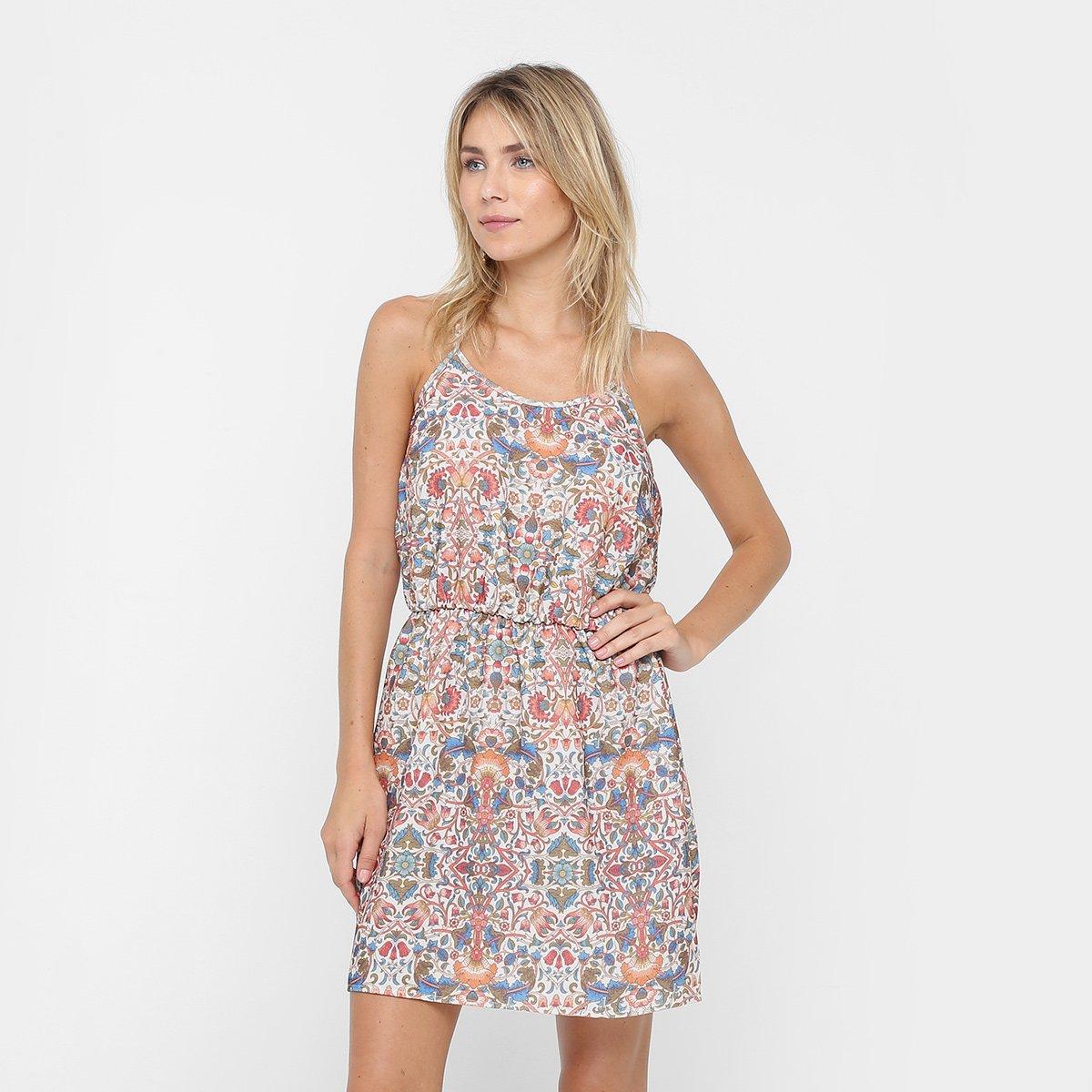 fd937485c9 Vestido Colcci Evasê Curto Floral Amarração