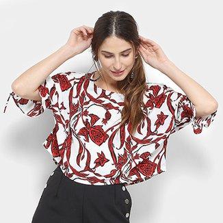 0a5009804 Blusa Top Moda Estampada Amarração Feminina