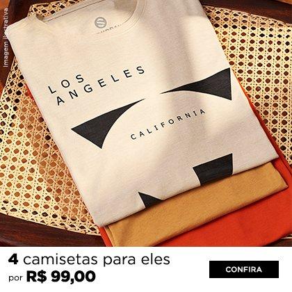 4 camisetas por R$ 99,00