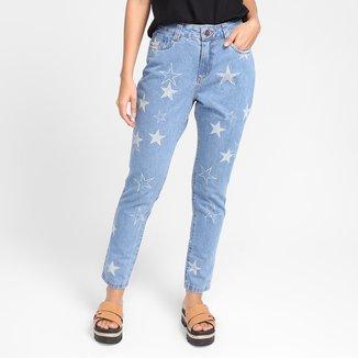Calça Jeans Cigarrete Grifle Stars Cintura Alta Feminina