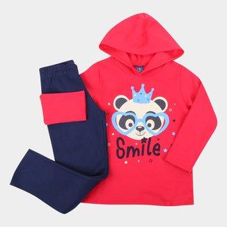 Conjunto Moletinho Infantil Pipa Smile Com Capuz Feminino