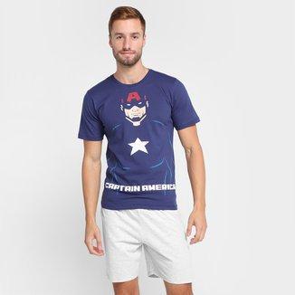 Pijama Curto Evanilda Avengers Capitão America Masculino