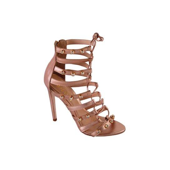927409a73a Sandália Conceito Fashion Couro Gladiadora Salto Fino Feminina - Bronze