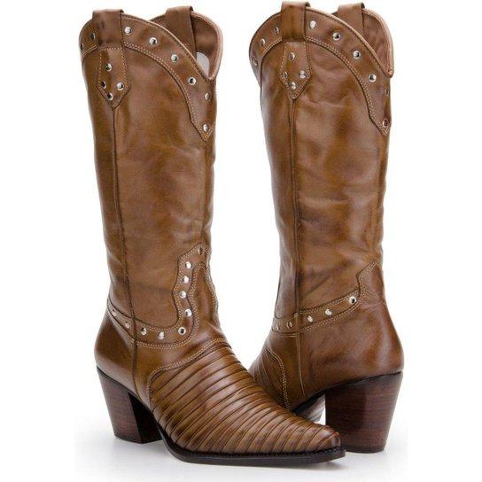 517a459ed7 Bota Texana Country Capelli Boots em Couro com Aplicações Metálicas Feminina  - Marrom Claro