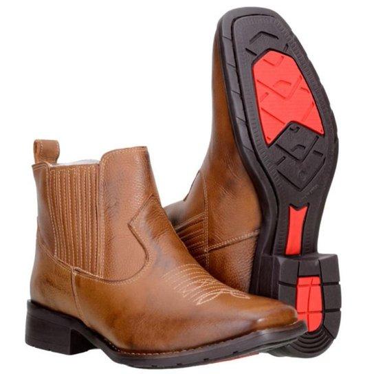 2cee79f259 Bota Texana Country Capelli Boots em Couro Cano Curto Masculina - Marrom  Claro