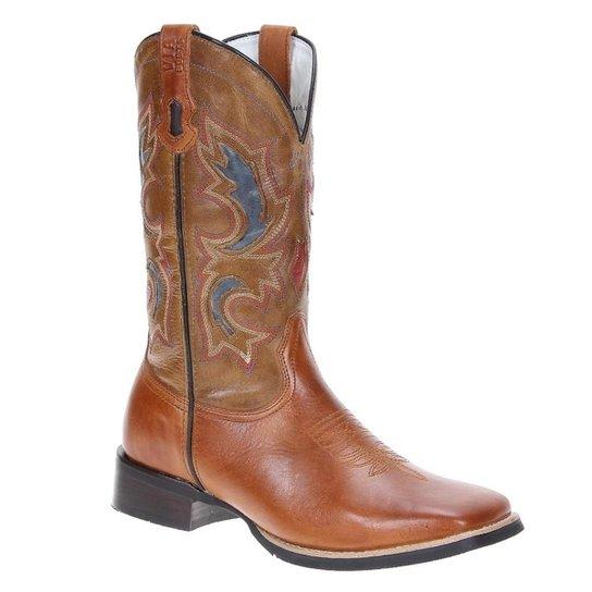 d80dc59051312 Bota Couro Western Via Boots Masculina - Marrom Claro
