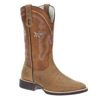 0683e26b85645 Bota Couro Cowboy Via Boots Masculino