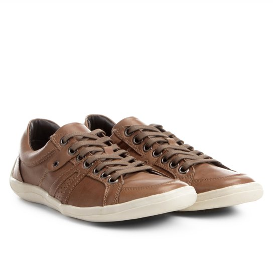 3af3394cbe Sapatênis Couro Shoestock Ilhós Masculino - Marrom Claro - Compre ...