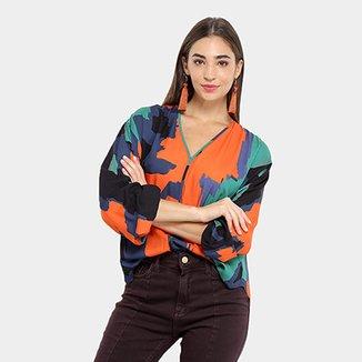 2a2db584c Camisa Morena Rosa Manga Longa Estampa Abstrata Feminina