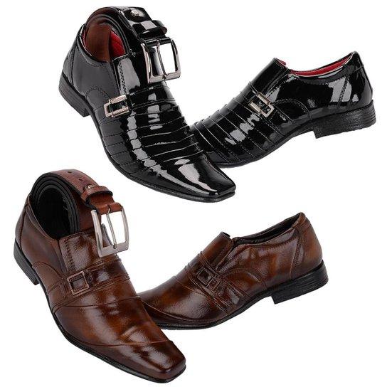 a7784c2fe Kit 2 Sapatos Sociais + Cinto Couro Leoppé Masculino - Marrom+Preto