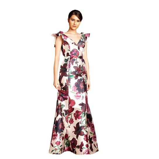 b027642a3e Vestido Longo Izadora Lima Brand em Zibeline Decote V Feminino - Off  White+Vinho
