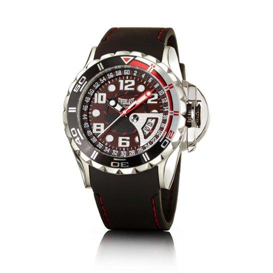 425c207f2e3 Relógio Masculino Everlast Pulseira Silicone Analógico - Preto+Vermelho