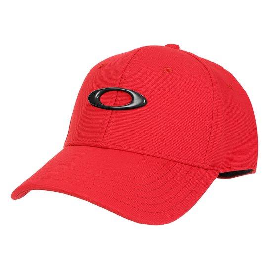 Boné Oakley Aba Curva Tincan Masculino - Preto e Vermelho - Compre ... 528ae4a2e8d
