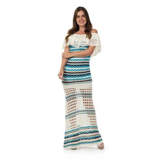 18e6c473514a Vestido longo Pink Tricot Listras Angélica - Off White+Azul