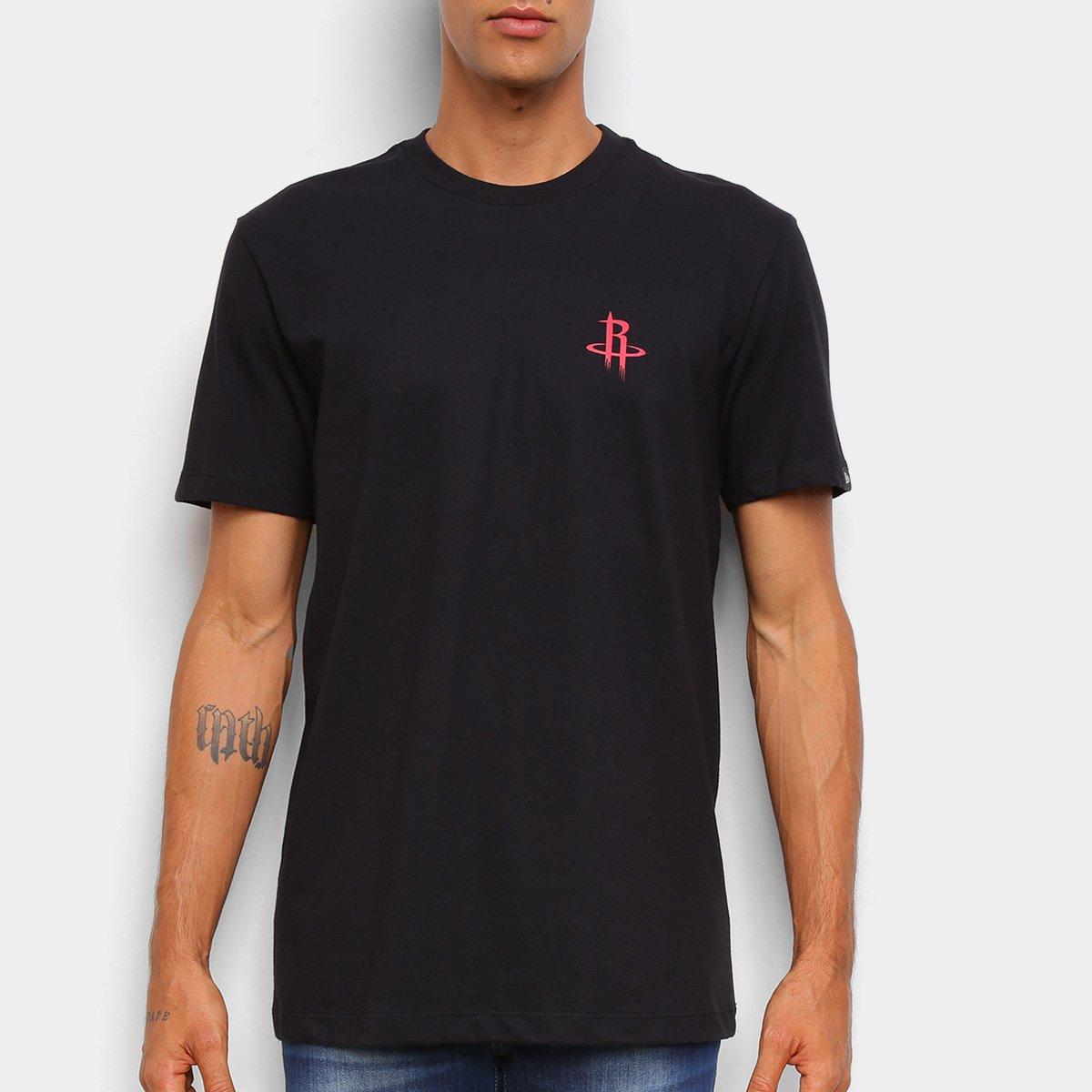 Camiseta Black Pack NBA Houston Rockets New Era Logo Shield Masculina