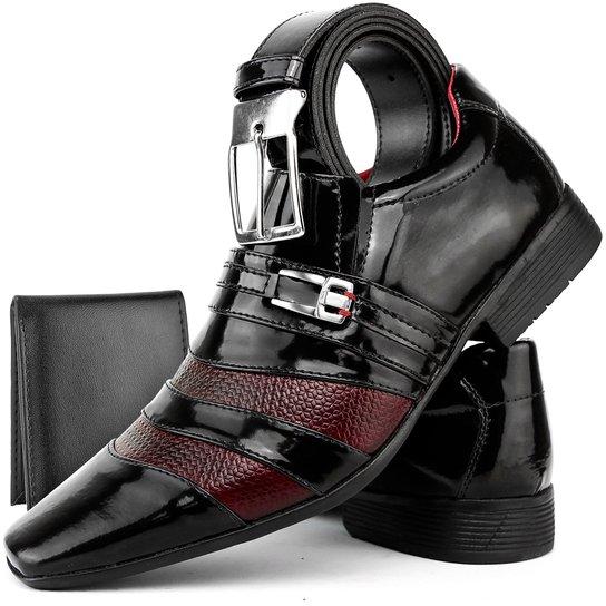 9f0c818f41 Sapato Social Masculino Bkarellos Verniz + Carteira+Cinto - Preto+Vermelho