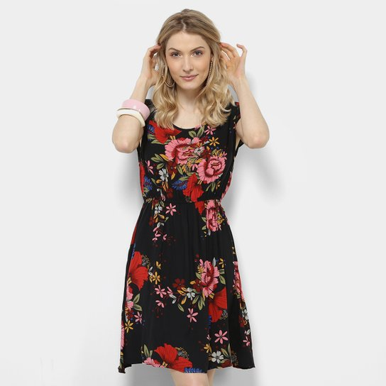 32addad29 Vestido Royallove Evasê Curto Floral - Preto+Vermelho