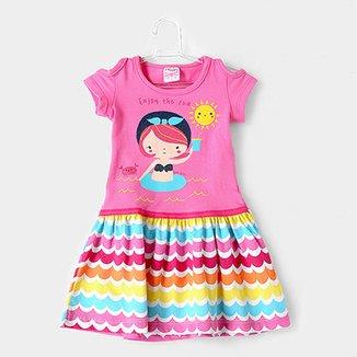 51f964d39e Vestido Infantil For Girl Curto Evasê Estampa Listrada