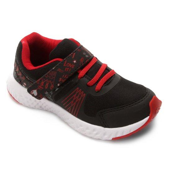 5317a23348 Tênis Infantil No Stress Detalhe Velcro Running - Preto e Vermelho ...