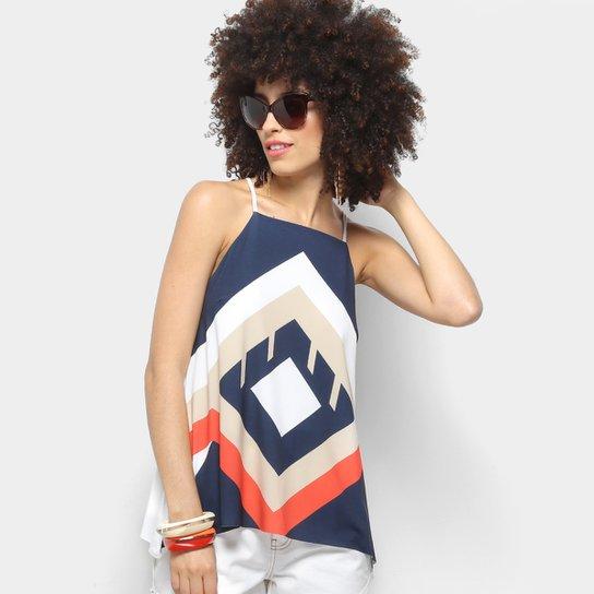9ae28e22a4 Blusa Morena Rosa Color Decote Quadrado Feminina - Off White+Azul