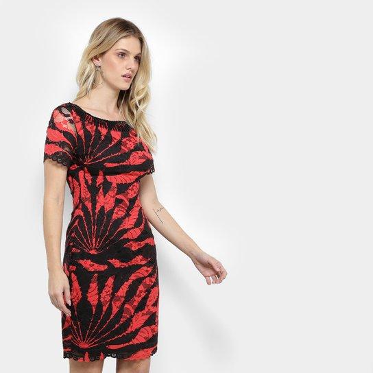5d93a8f04 Vestido Morena Rosa Tubinho Curto Renda Caire Bordado Decote - Preto+ Vermelho