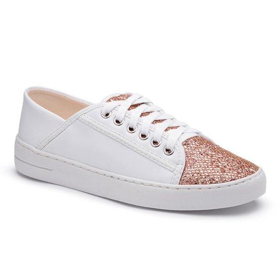 51df4458e3 Tenis Top Franca Shoes Com Glitter Feminino - Branco e Nude