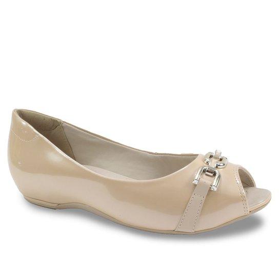 cb0e66cc4 Sapato Peep Toe Feminino Comfortflex com Corrente - Nude   Zattini