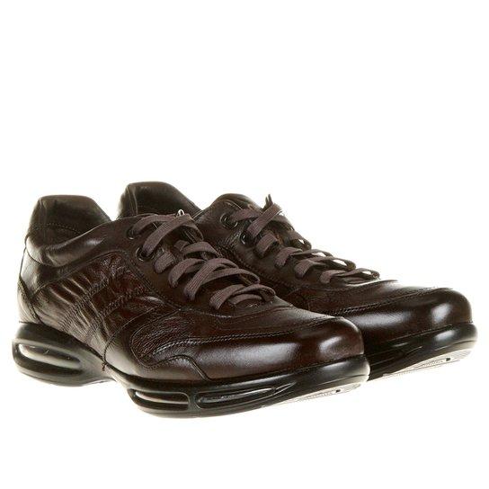Sapato Conforto Couro Democrata Air Full - Café - Compre Agora  5d1e508f43b