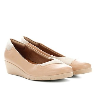 bba9f062e Sapato Couro Usaflex Anabela Salto Baixo Feminino