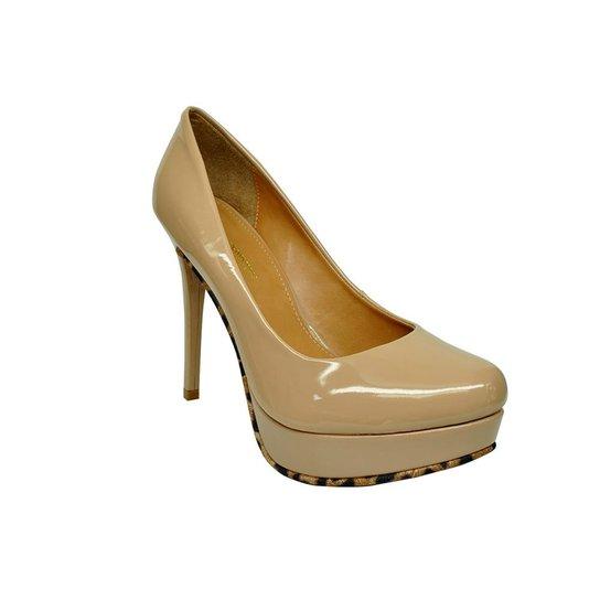 0fc5e2a626 Scarpin em Couro Conceito Fashion Meia Pata Verniz Nude - Compre ...