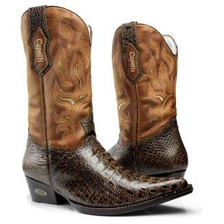 Bota Texana Country Capelli Boots Jacaré em Couro com Detalhes em Costura  Masculina c18635b8d5f