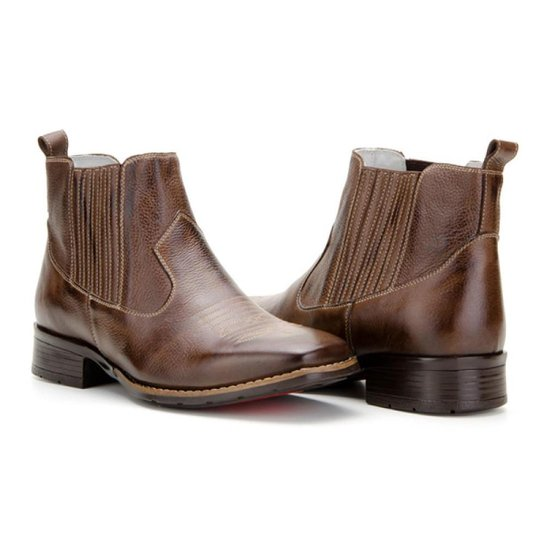 Bota Texana Country Capelli Boots Em Couro Cano Curto Masculina Cafe
