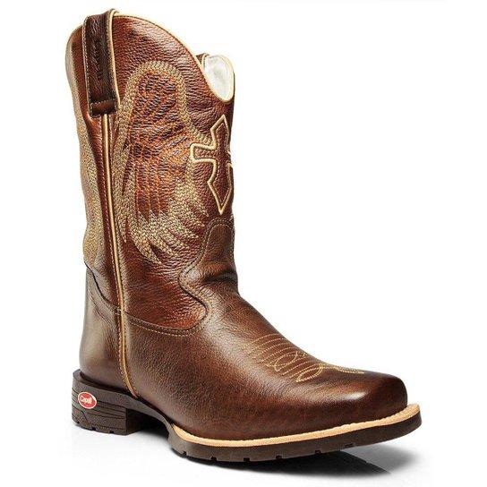 Bota Texana Country Capelli Couro Bico Quadrado Masculina - Café ... 00bb09d3277