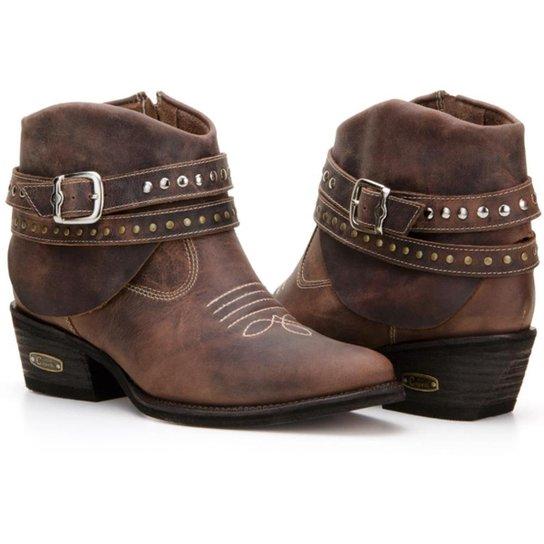 ed072acac Bota Texana Country Capelli Boots Couro Cano Curto Fivelas Feminina - Café