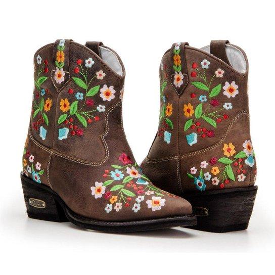 Bota Texana Country Capelli Boots Cano Curto Detalhes Bordado Feminina -  Café fae995cff5a