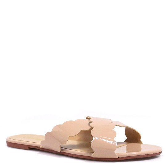 2519032c32 Rasteira Zariff Shoes Verniz Bico Aberto - Nude