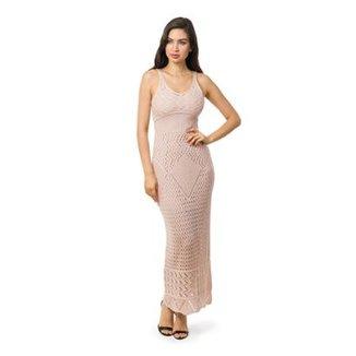 a7633338e6 Vestido Pink Tricot Longo Com Fendas Feminino