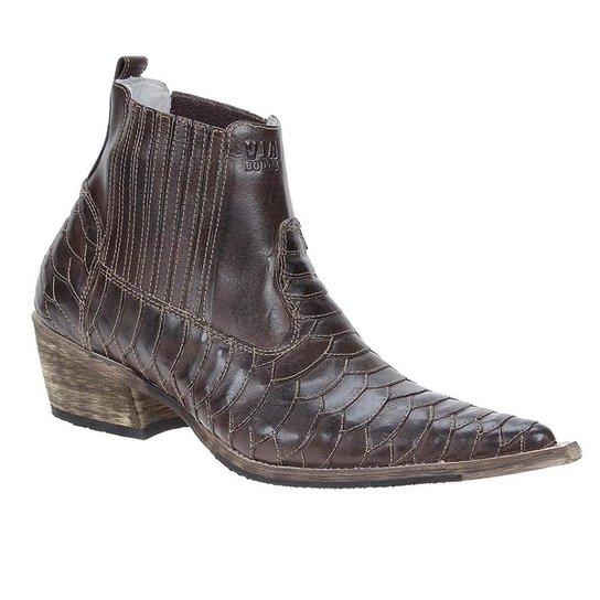 0e45d14f15e Bota Couro Texana Escamada Via Boots Masculina - Café - Compre Agora ...