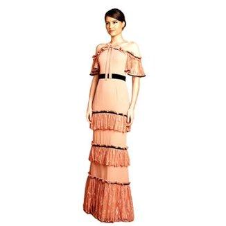 63e42f0e2 Vestido Longo Izadora Lima Brand com Renda e Cinto preto em Veludo Feminino
