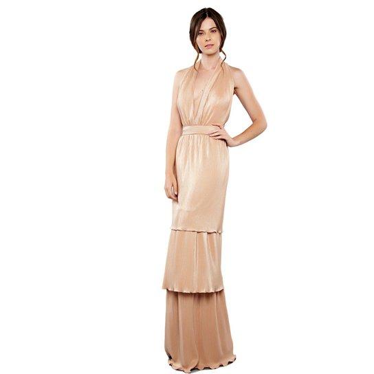 a26938603 Vestido Longo Izadora Lima Brand Plissado Mettalic Feminino - Nude ...