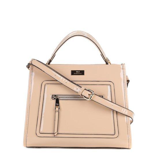 568a2d1b7 Bolsa WJ Handbag Verniz Alça Transversal Feminina - Bege Claro ...