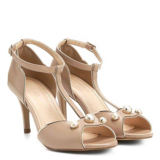 efd201fce Sandália Couro Shoestock Salto Fino Médio Pérolas Feminina - Compre ...