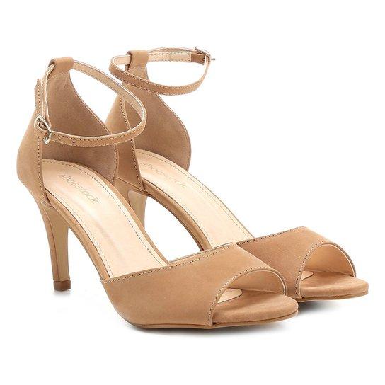 b41fc7dd13 Sandália Couro Shoestock Salto Fino Naked Tornozeleira Feminina - Nude
