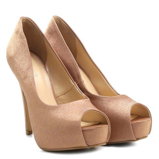 db4497f251 Peep Toe Shoestock Festa Meia Pata Embutida - Nude - Compre Agora ...