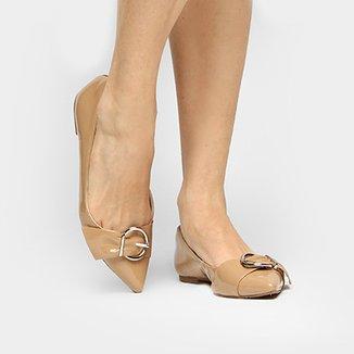 140b883095 Sapatilha Shoestock Bico Fino Fivela Drapeado