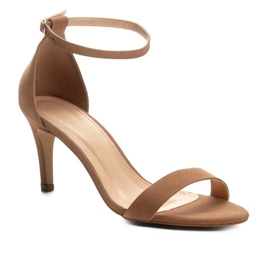 c078e44b45 Sandália Couro Shoestock Naked Salto Fino Feminina - Nude