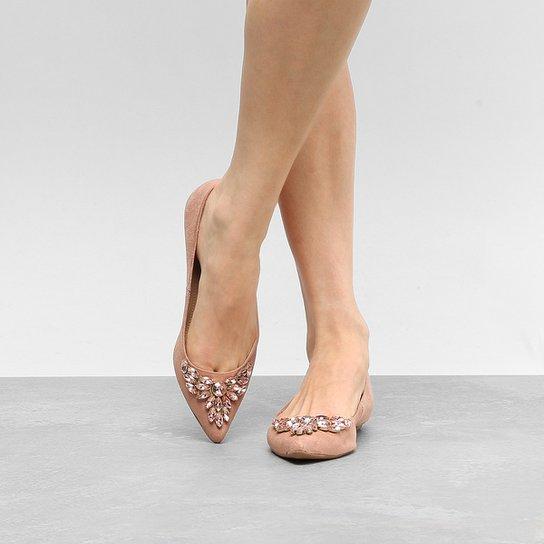 37fb006d8 Sapatilha Couro Shoestock Bico Fino Pedraria Feminina | Zattini