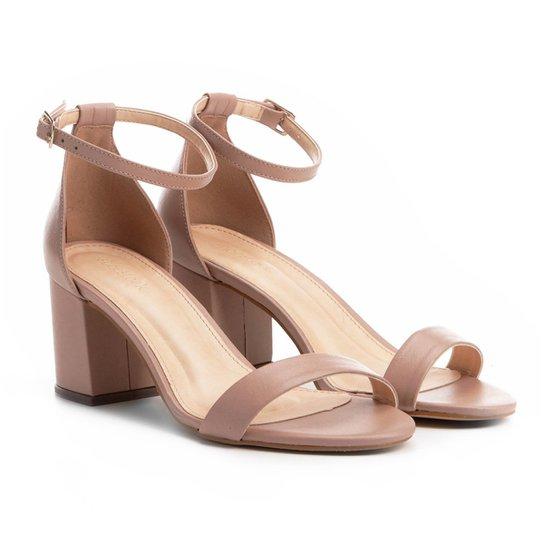 2b934b4b1 Sandália Couro Shoestock Salto Grosso Naked Feminina - Compre Agora ...