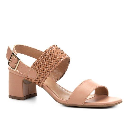 26783c3528 Sandália Shoestock Salto Bloco Tranças Feminina - Rosa Claro ...